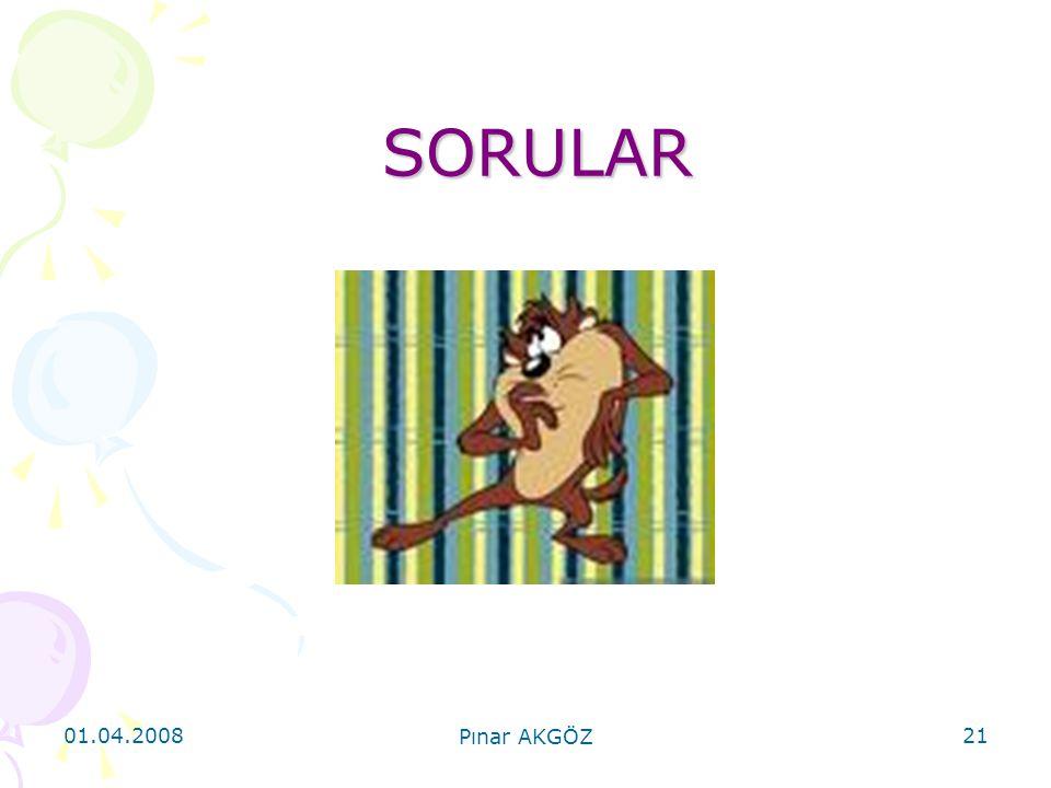SORULAR 01.04.2008 Pınar AKGÖZ