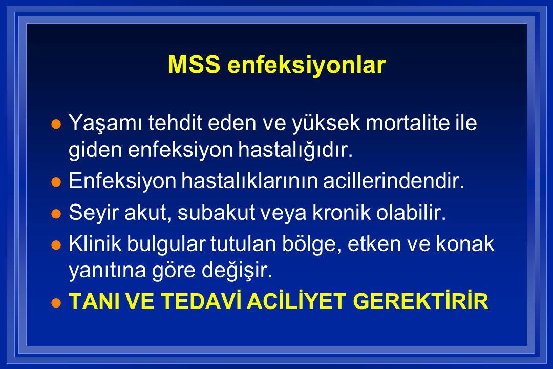 MSS enfeksiyonlar Yaşamı tehdit eden ve yüksek mortalite ile giden enfeksiyon hastalığıdır. Enfeksiyon hastalıklarının acillerindendir.