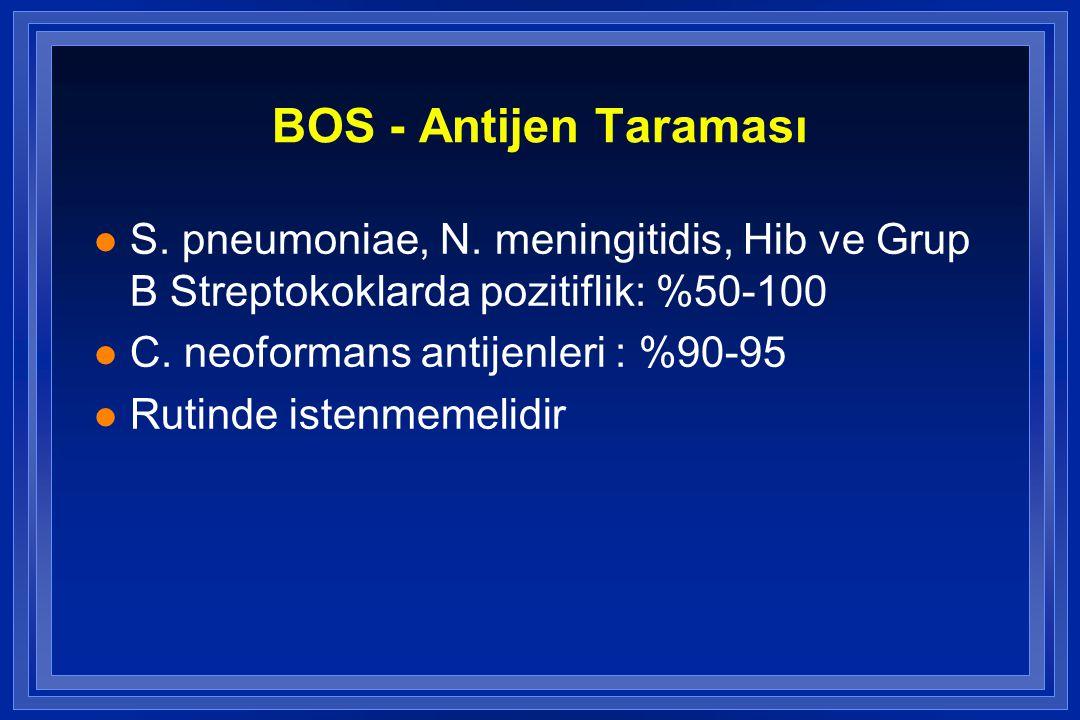 BOS - Antijen Taraması S. pneumoniae, N. meningitidis, Hib ve Grup B Streptokoklarda pozitiflik: %50-100.