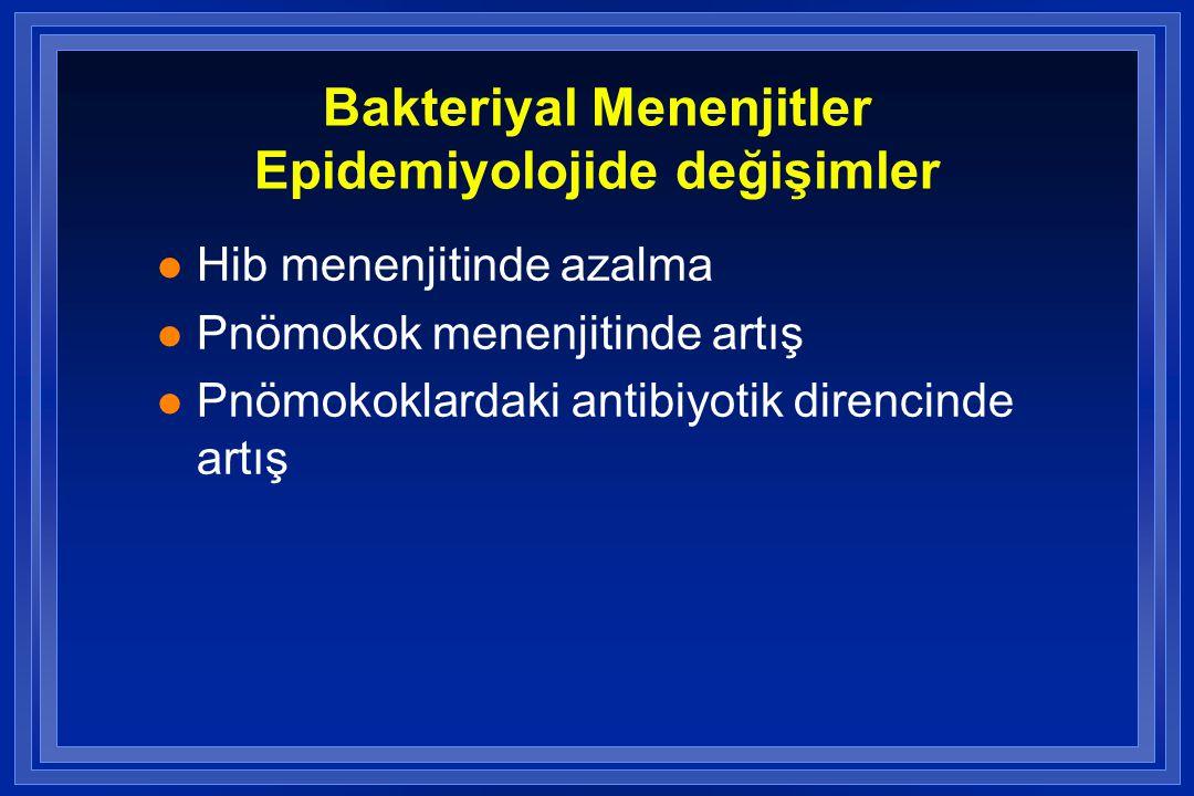 Bakteriyal Menenjitler Epidemiyolojide değişimler