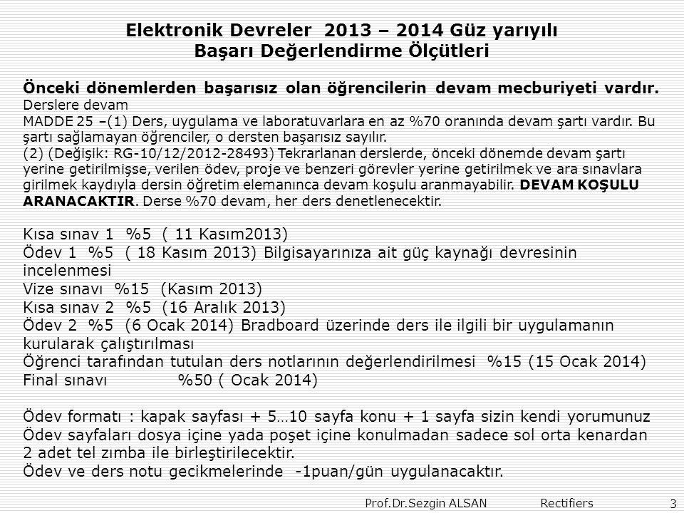 Elektronik Devreler 2013 – 2014 Güz yarıyılı