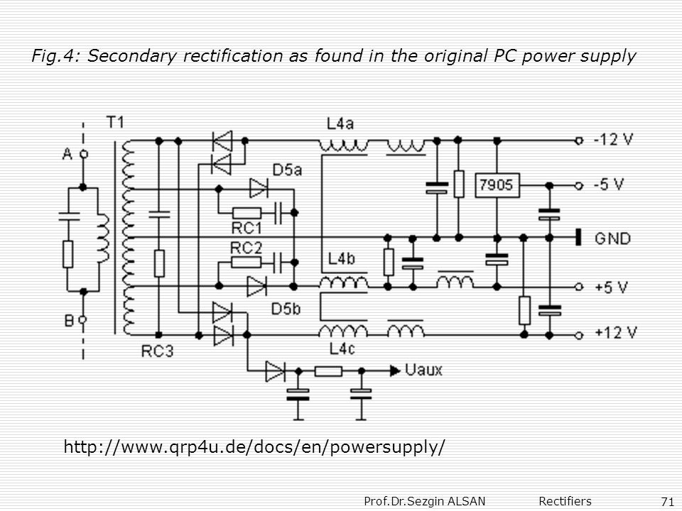 Fig.4: Secondary rectification as found in the original PC power supply