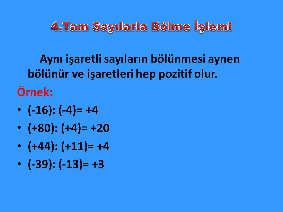 4.Tam Sayılarla Bölme İşlemi