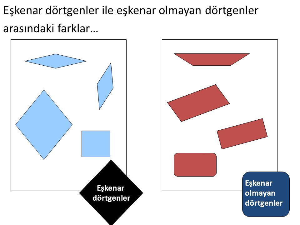 Eşkenar dörtgenler ile eşkenar olmayan dörtgenler arasındaki farklar…