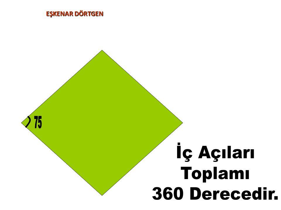 EŞKENAR DÖRTGEN 75 İç Açıları Toplamı 360 Derecedir.