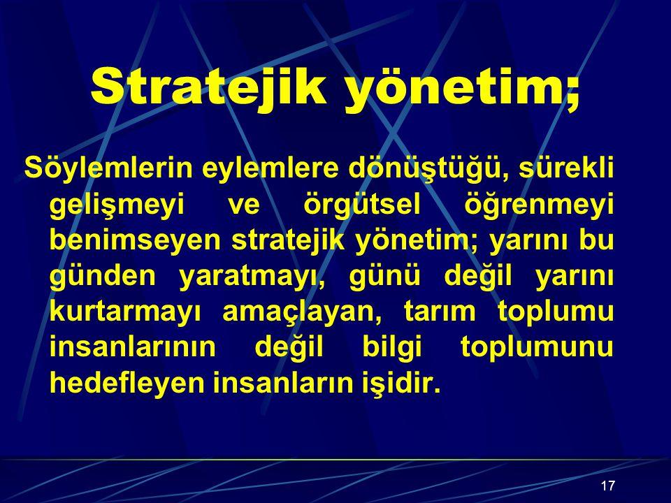 Stratejik yönetim;