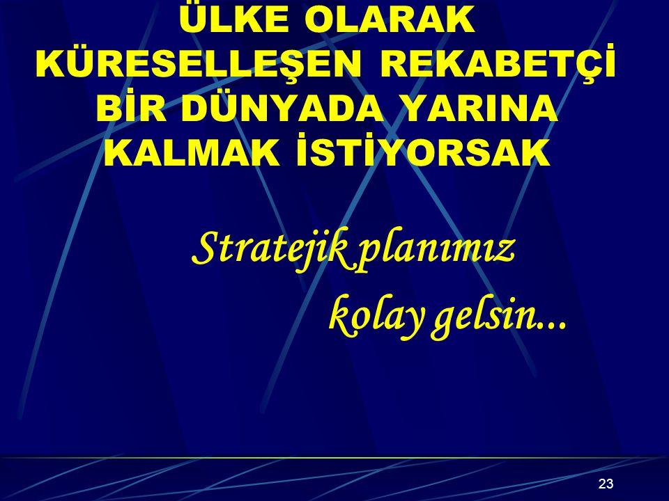 Stratejik planımız kolay gelsin...