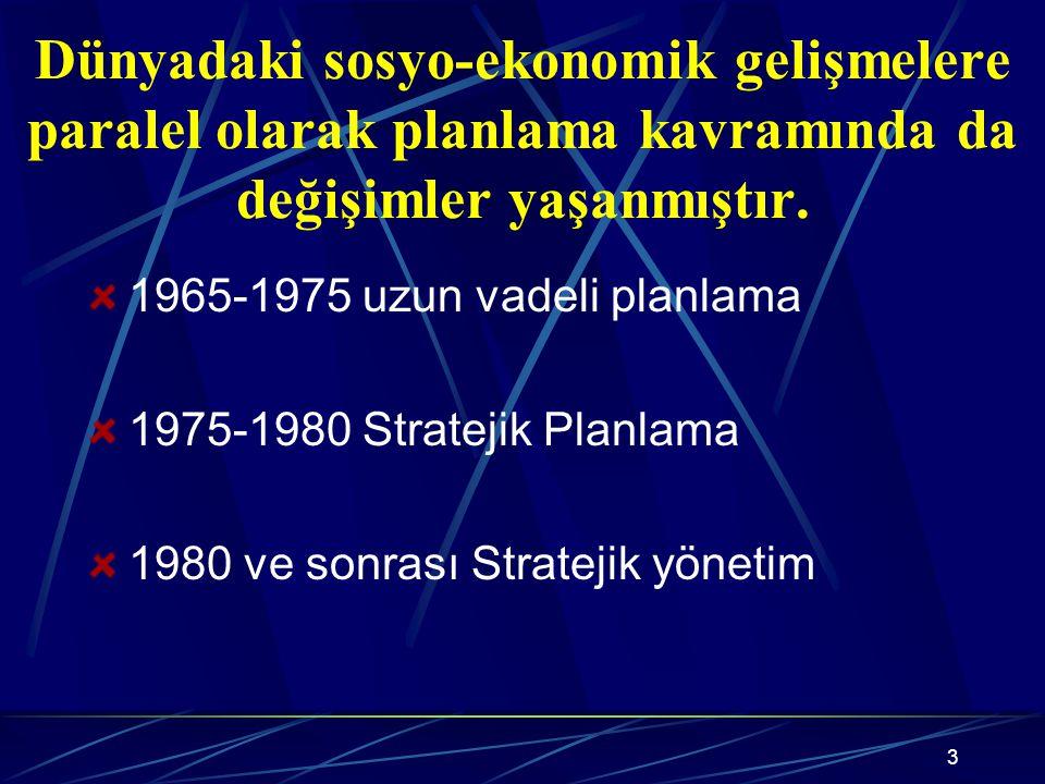 Dünyadaki sosyo-ekonomik gelişmelere paralel olarak planlama kavramında da değişimler yaşanmıştır.