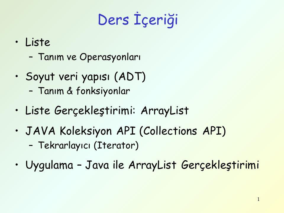 Ders İçeriği Liste Soyut veri yapısı (ADT)