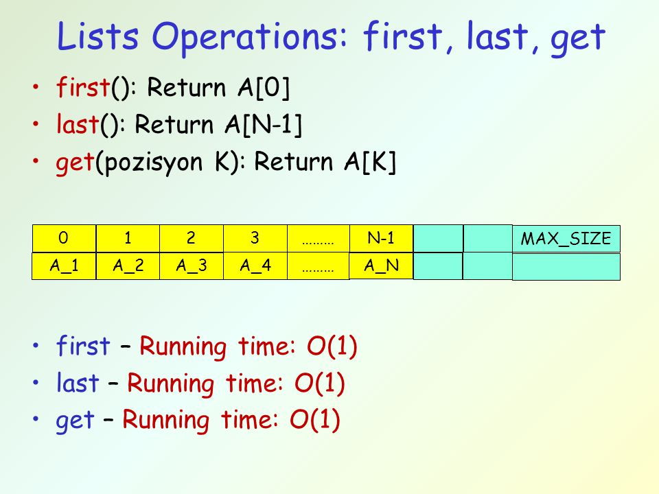 Lists Operations: first, last, get