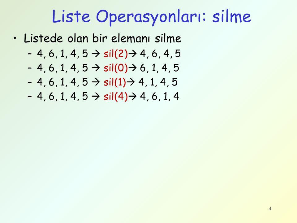 Liste Operasyonları: silme