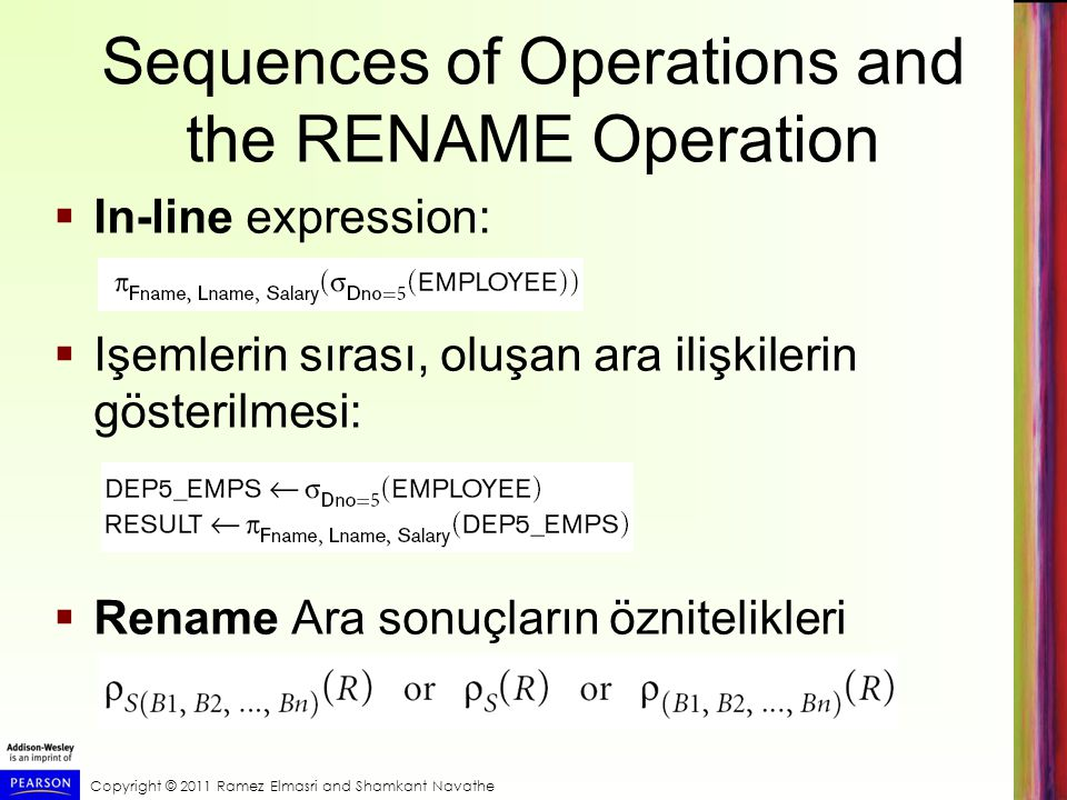 Sequences of Operations and the RENAME Operation