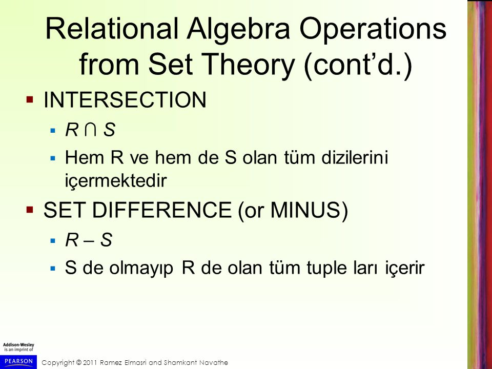 Relational Algebra Operations from Set Theory (cont'd.)