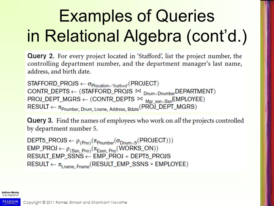 Examples of Queries in Relational Algebra (cont'd.)