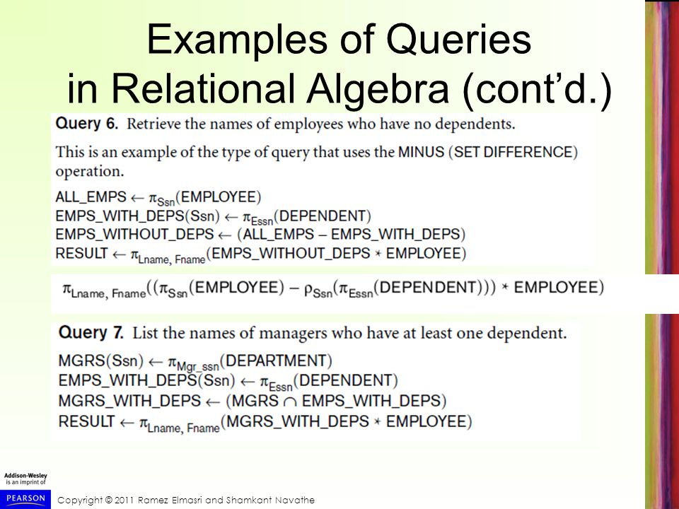 query examples in relational algebra and In relational algebra a query is applied to relation instances, and the result of a query is also a relation instance the schema of input relations for a query are fixed (but the query will run regardless of instance)  examples 1 find names of students enrolled at 'bd1.