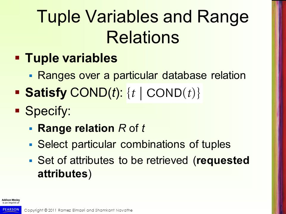 Tuple Variables and Range Relations