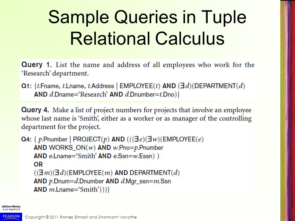 Sample Queries in Tuple Relational Calculus