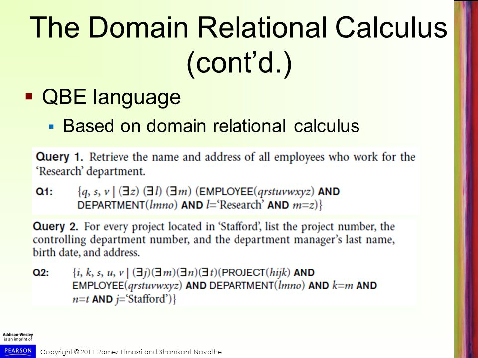 The Domain Relational Calculus (cont'd.)