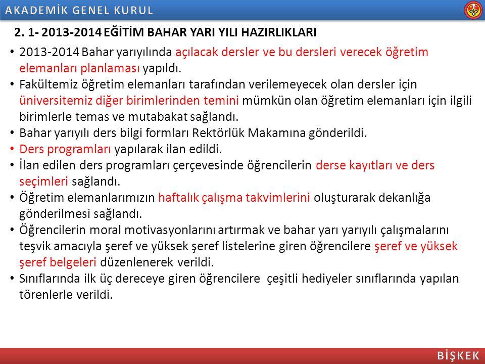 2. 1- 2013-2014 EĞİTİM BAHAR YARI YILI HAZIRLIKLARI
