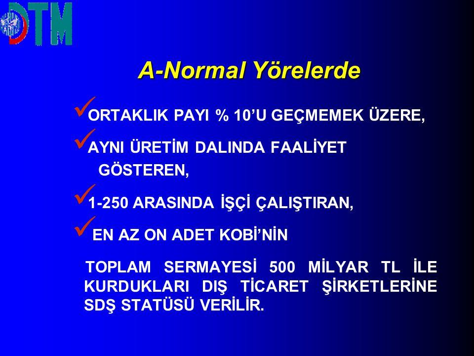 A-Normal Yörelerde ORTAKLIK PAYI % 10'U GEÇMEMEK ÜZERE,