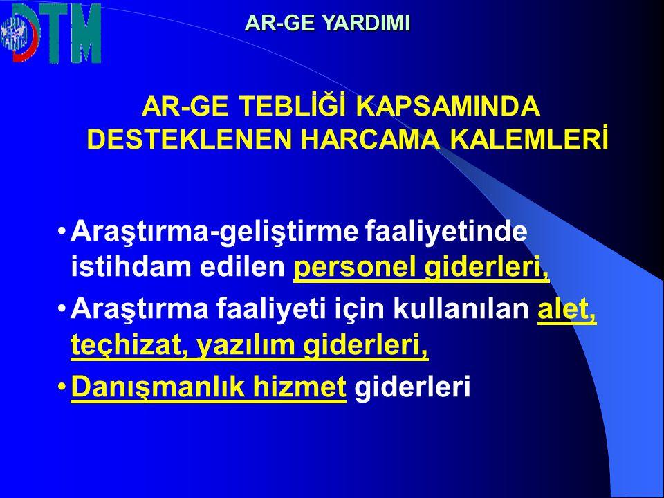 AR-GE TEBLİĞİ KAPSAMINDA DESTEKLENEN HARCAMA KALEMLERİ