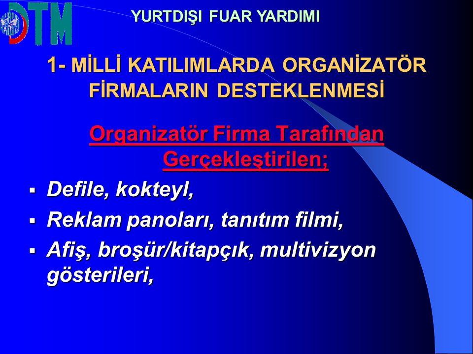 1- MİLLİ KATILIMLARDA ORGANİZATÖR FİRMALARIN DESTEKLENMESİ