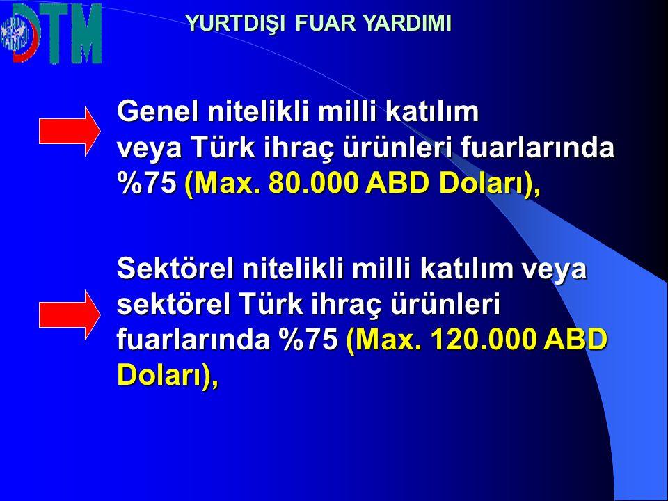 YURTDIŞI FUAR YARDIMI Genel nitelikli milli katılım veya Türk ihraç ürünleri fuarlarında %75 (Max. 80.000 ABD Doları),