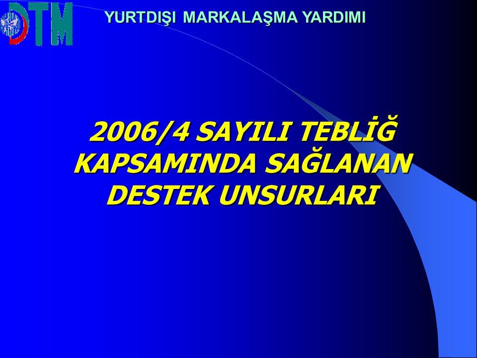 2006/4 SAYILI TEBLİĞ KAPSAMINDA SAĞLANAN DESTEK UNSURLARI