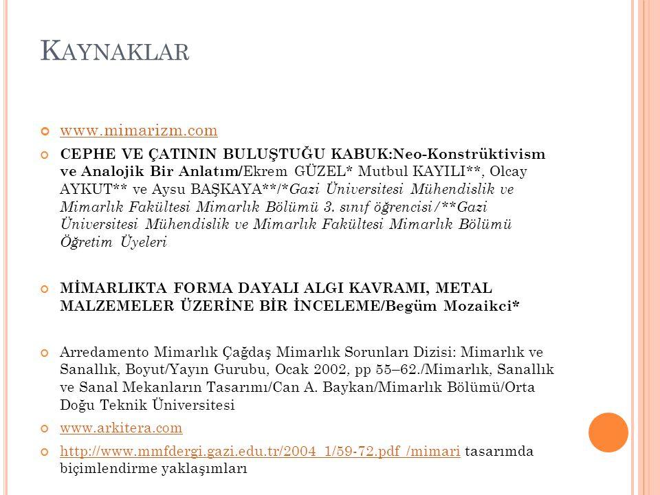 Kaynaklar www.mimarizm.com