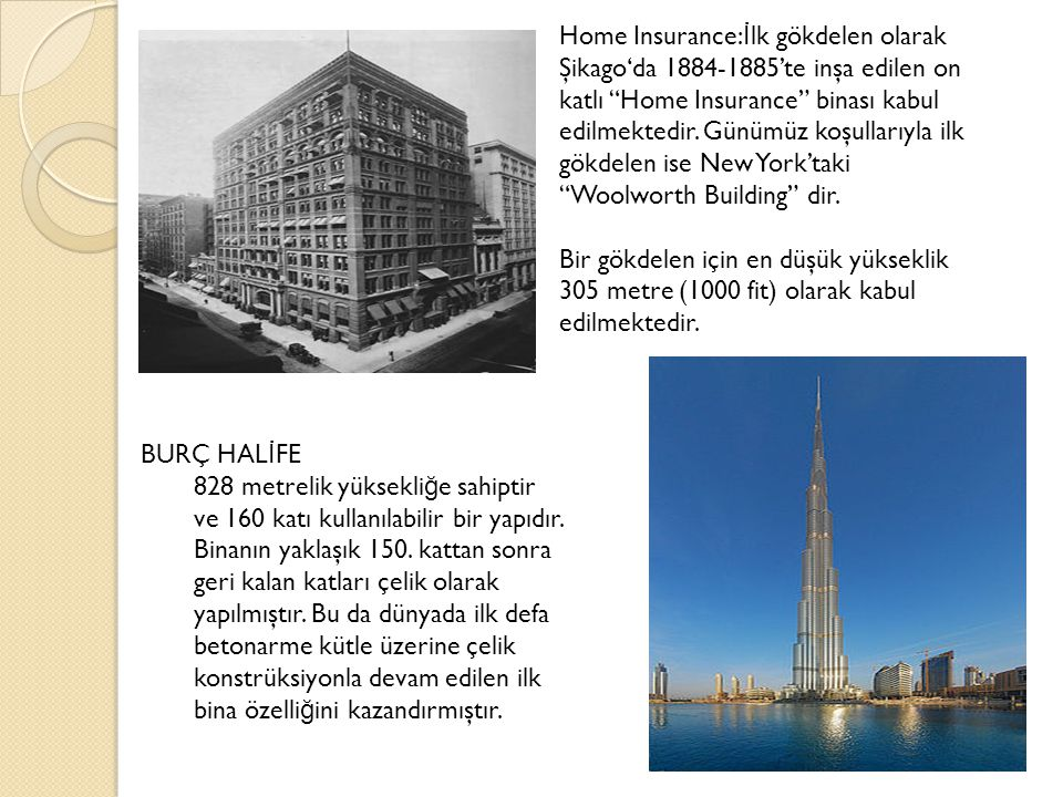 Home Insurance:İlk gökdelen olarak Şikago'da 1884-1885'te inşa edilen on katlı Home Insurance binası kabul edilmektedir. Günümüz koşullarıyla ilk gökdelen ise New York'taki Woolworth Building dir.
