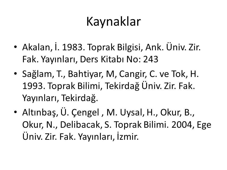 Kaynaklar Akalan, İ. 1983. Toprak Bilgisi, Ank. Üniv. Zir. Fak. Yayınları, Ders Kitabı No: 243.