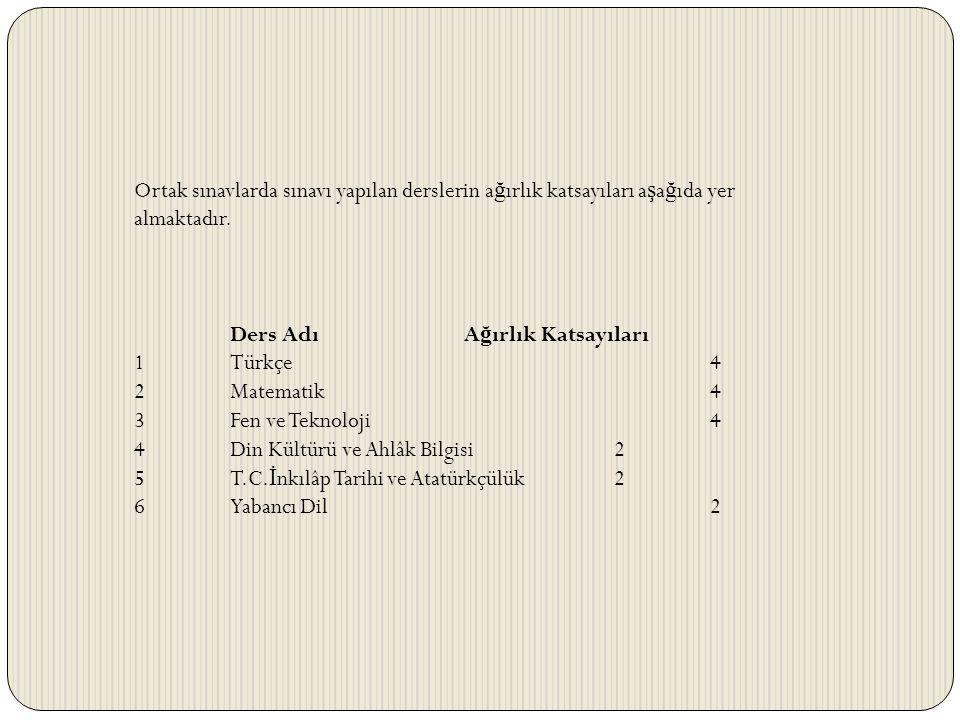Ortak sınavlarda sınavı yapılan derslerin ağırlık katsayıları aşağıda yer almaktadır.