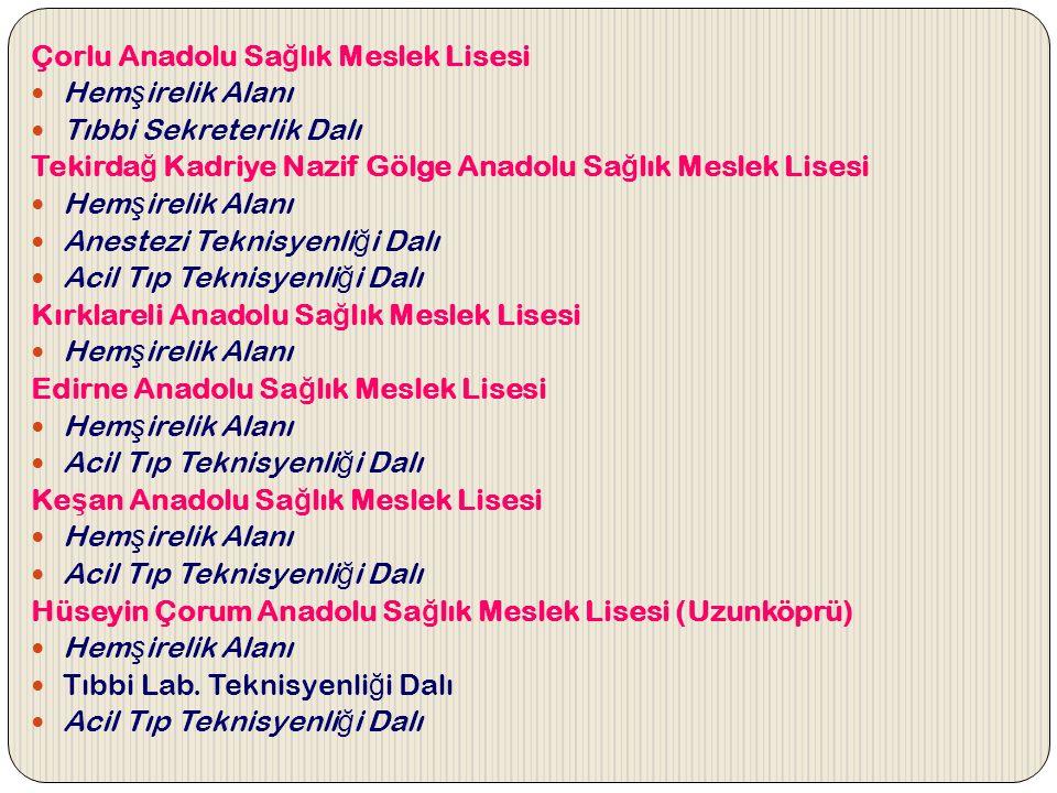 Çorlu Anadolu Sağlık Meslek Lisesi