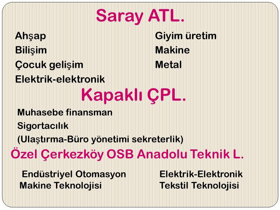 Saray ATL. Kapaklı ÇPL. Özel Çerkezköy OSB Anadolu Teknik L.