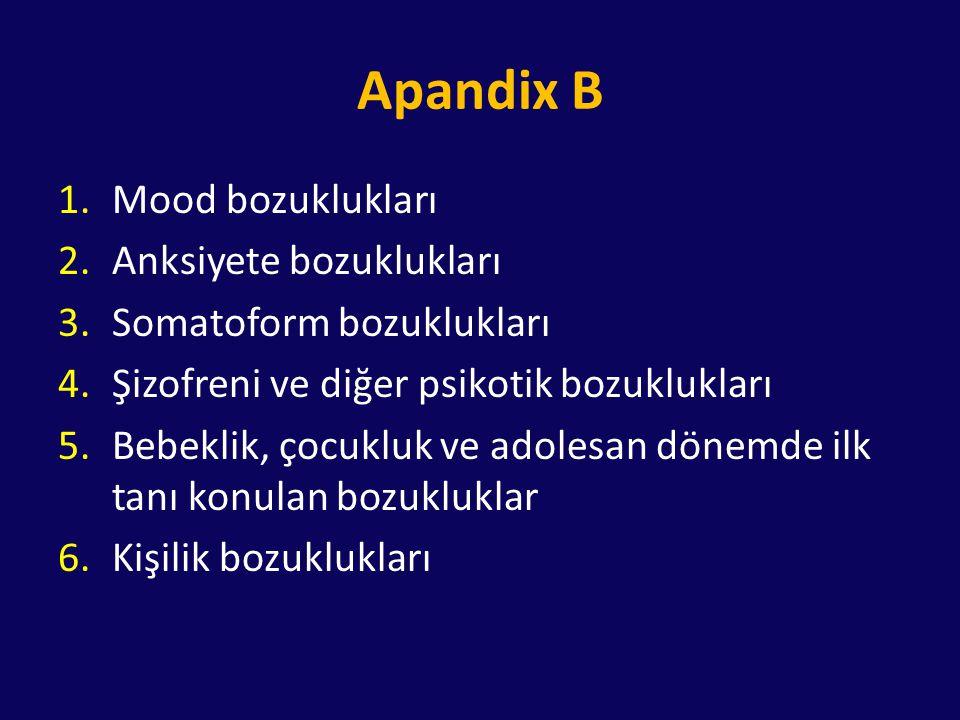 Apandix B Mood bozuklukları Anksiyete bozuklukları