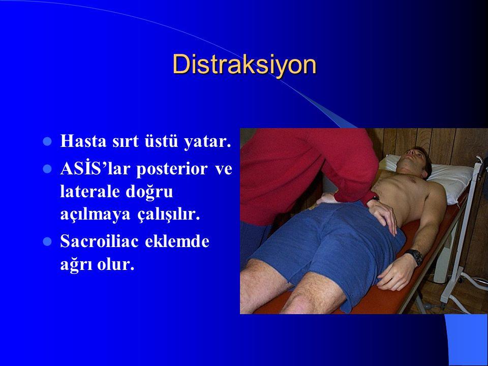 Distraksiyon Hasta sırt üstü yatar.
