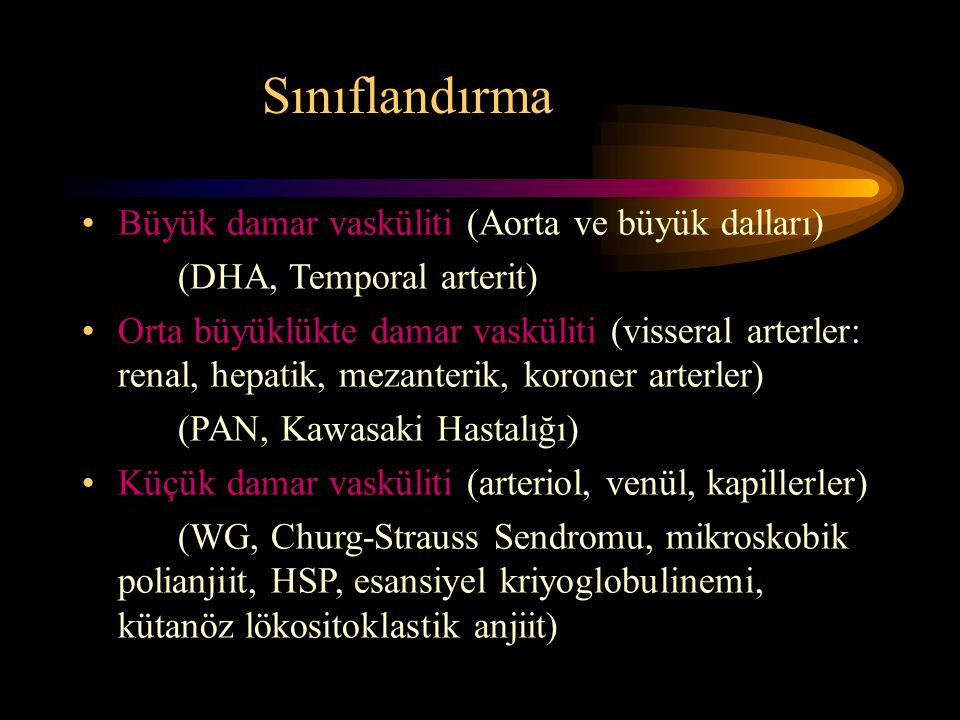 Sınıflandırma Büyük damar vasküliti (Aorta ve büyük dalları)