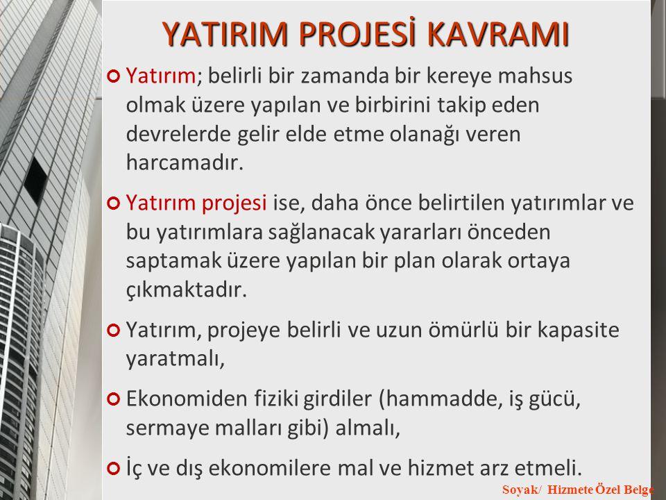 YATIRIM PROJESİ KAVRAMI
