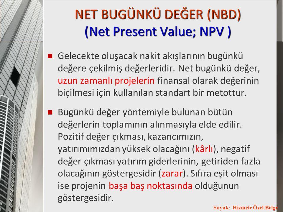 NET BUGÜNKÜ DEĞER (NBD) (Net Present Value; NPV )