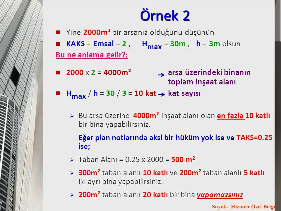 Örnek 2 Yine 2000m² bir arsanız olduğunu düşünün