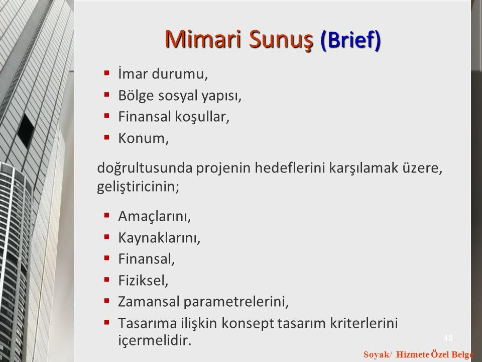 Mimari Sunuş (Brief) İmar durumu, Bölge sosyal yapısı, Finansal koşullar, Konum,