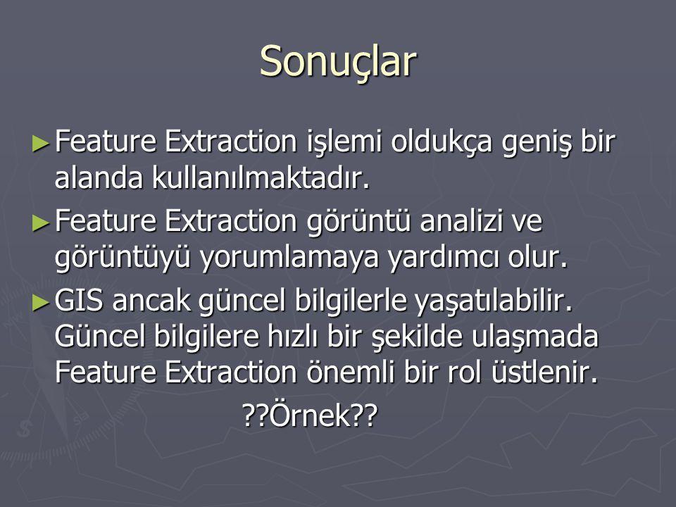 Sonuçlar Feature Extraction işlemi oldukça geniş bir alanda kullanılmaktadır.