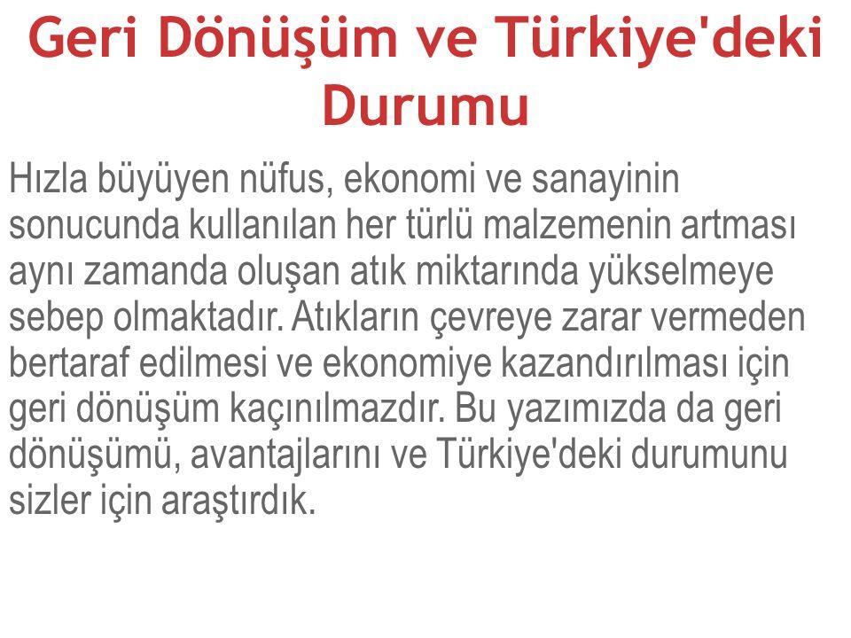 Geri Dönüşüm ve Türkiye deki Durumu