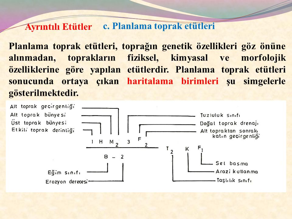Ayrıntılı Etütler c. Planlama toprak etütleri.
