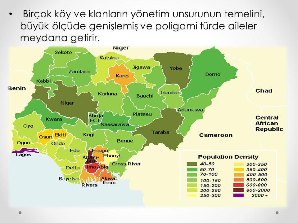 Birçok köy ve klanların yönetim unsurunun temelini, büyük ölçüde genişlemiş ve poligami türde aileler meydana getirir.