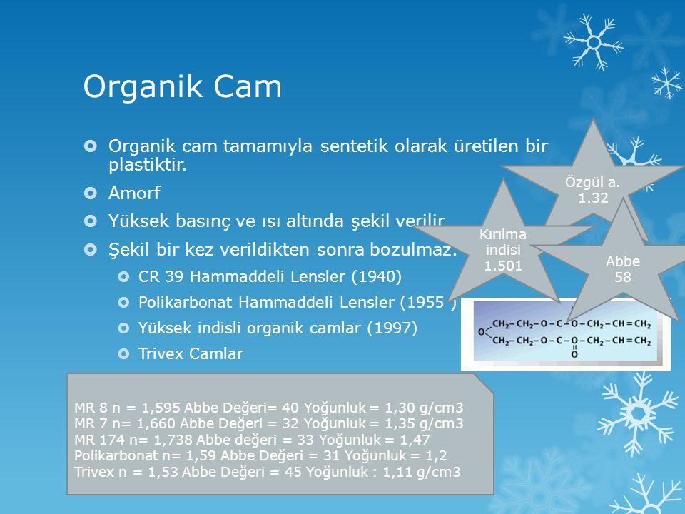 Organik Cam Özgül a. 1.32. Organik cam tamamıyla sentetik olarak üretilen bir plastiktir. Amorf.