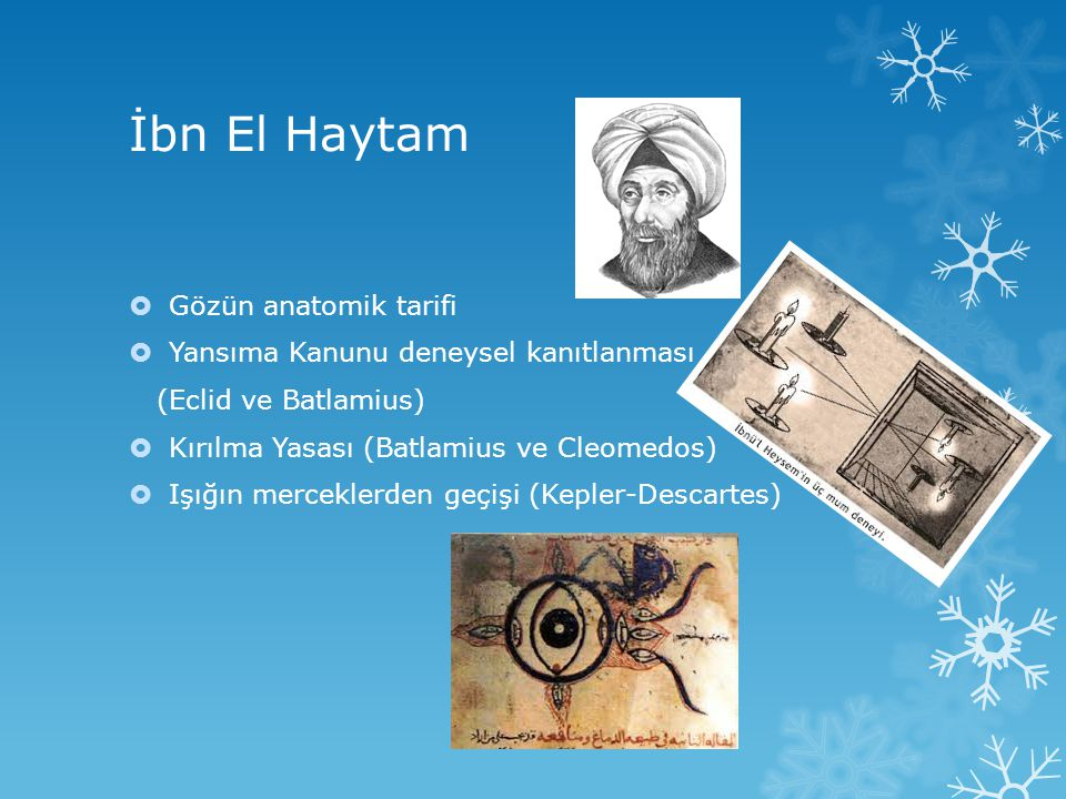 İbn El Haytam Gözün anatomik tarifi