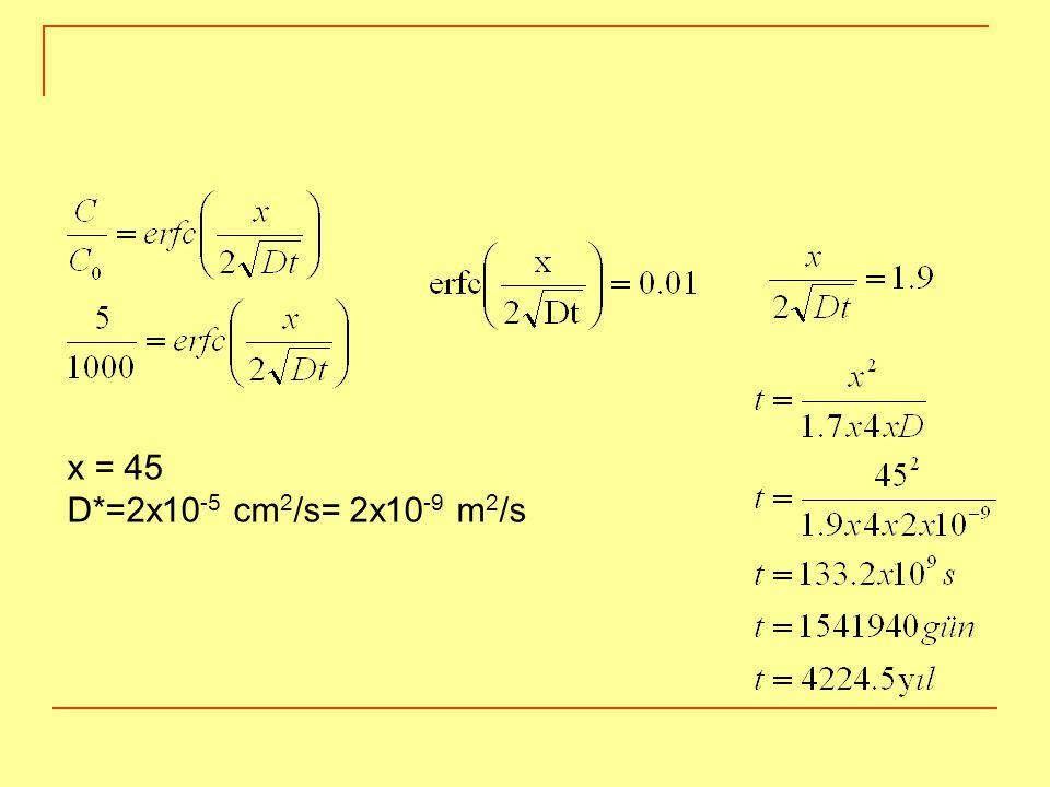 x = 45 D*=2x10-5 cm2/s= 2x10-9 m2/s