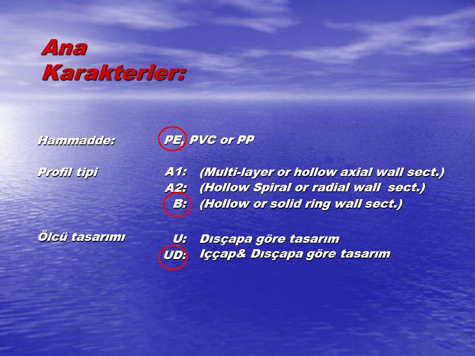 Ana Karakterler: Hammadde: PE, PVC or PP Profil tipi A1: