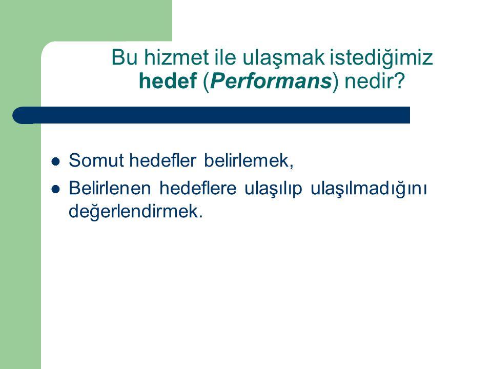 Bu hizmet ile ulaşmak istediğimiz hedef (Performans) nedir